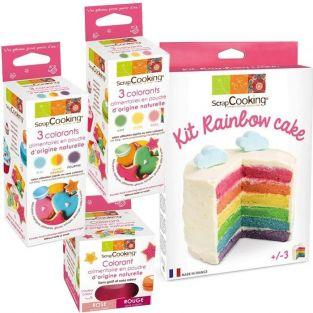 Rainbow cake kit + 7 food colourings