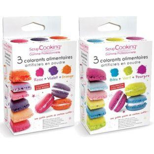 6 Powder food colourings - Violet orange pink blue purple