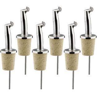 6 bottle pourers with cap - stainless steel & cork