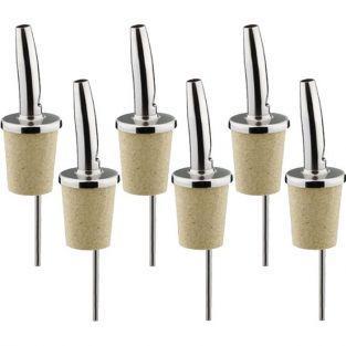 6 tapones vertedores para aceite y vinagre con tapa - acero inoxidable y corcho