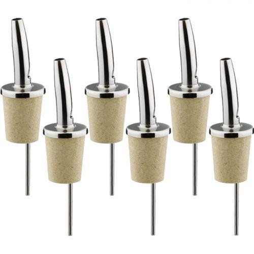 6 bottle pourers - stainless steel and cork