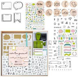 Coffret bullet journal + tampons + pochoirs + stickers