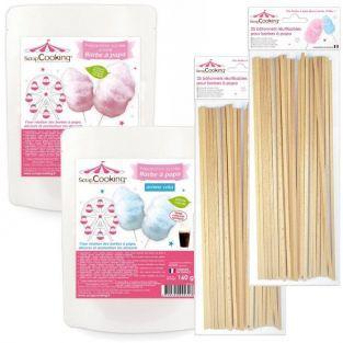 Preparación algodón de azúcar azul + rosa + 50 palillos