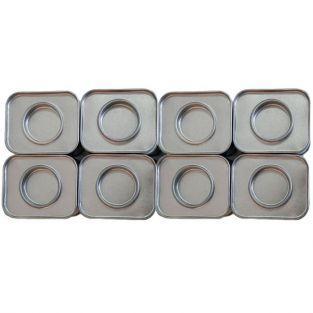 8 petites boîtes métalliques rectangulaires 6 x 5 x 4 cm