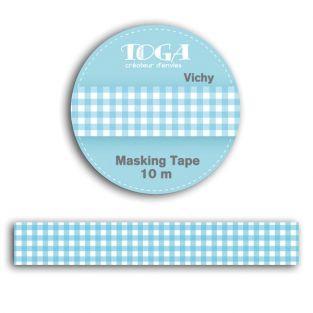 Masking tape 10 m - vichy bleu