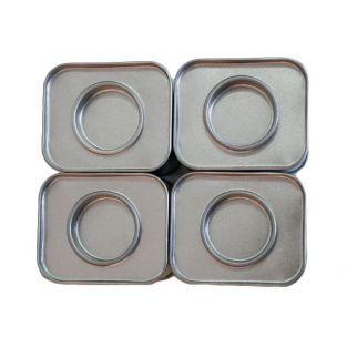 4 petites boîtes métalliques rectangulaires 6 x 5 x 4 cm
