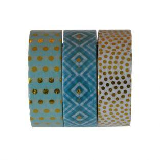 3 Washi tapes 10 m - Menta-oro