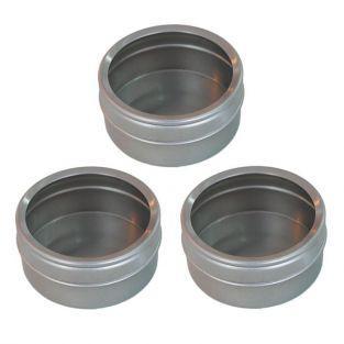 3 boîtes métalliques à couvercle transparent 5,3 x 2,5 cm