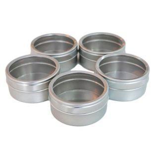 5 boîtes métalliques à couvercle transparent 5,3 x 2,5 cm