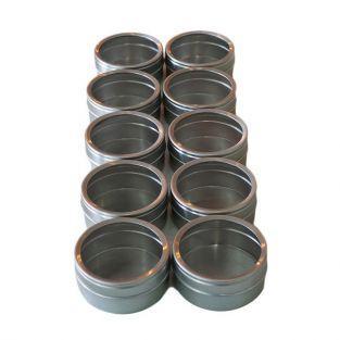 10 cajitas metálicas con tapa transparente 5,3 x 2,5 cm