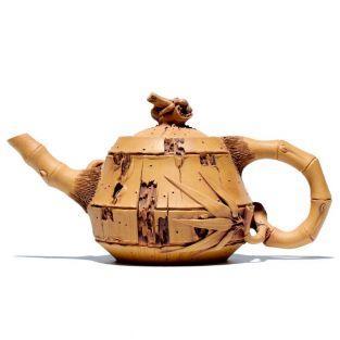Teekanne aus Terracotta - Bambus 220 ml