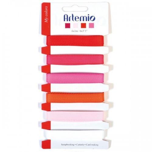 6 ribbons red-pink-orange-white