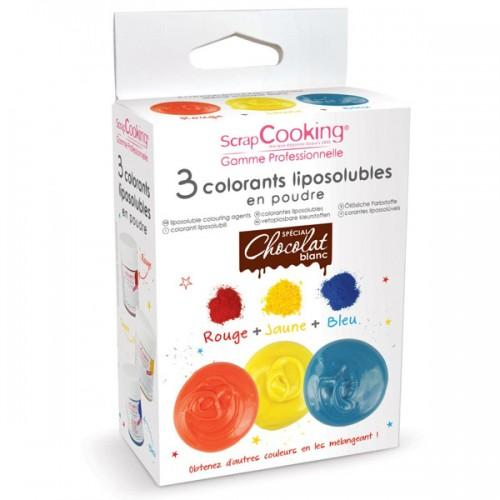 Liposoluble colouring agents red, yellow and blue
