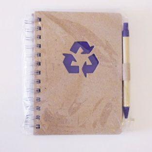Cuaderno de espiral kraft con pluma