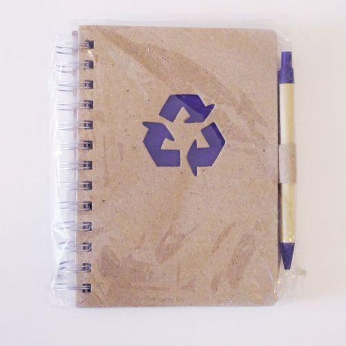 Spiral kraft notebook with pen