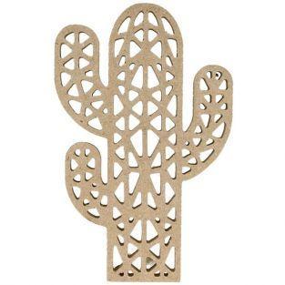 Silhouette en bois MDF origami - Cactus 15 cm