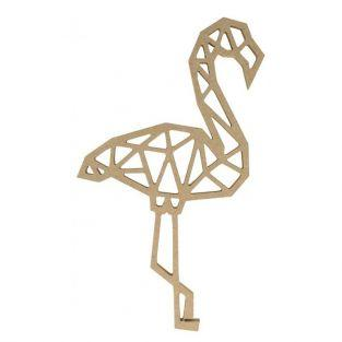 MDF wooden origami silhouette - Flamingo 15 cm