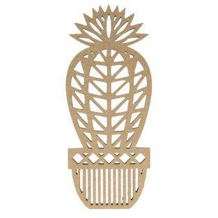Silhouette en bois MDF origami - Cactus boule 25 cm
