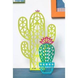 Silhouette en bois MDF origami - Cactus boule 15 cm