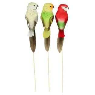 3 decorative parrots 14 x 4 x 3 cm mounted on wooden rods
