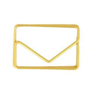 6 clips de papel dorados - Sobres 3 x 2 cm