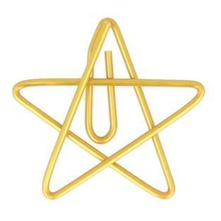 6 golden star paper clips 3 x 3 cm