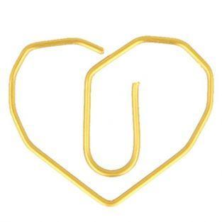 6 clips de papel dorados - Corazón 2,6 x 3 cm