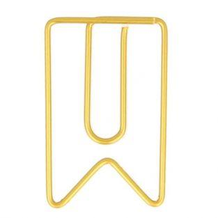 6 golden pennants paper clips 2 x 3.3 cm