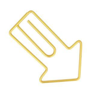 6 golden arrow paper clips 2.8 x 4.2 cm