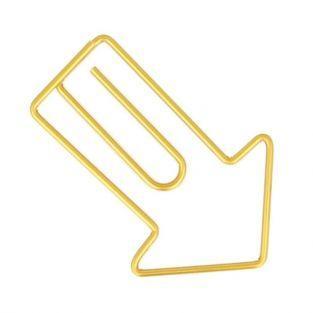 6 golden arrow paper clips 2.8 x 4.2 cm