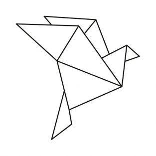 Sello de madera 4,5 x 4,5 cm - Gallina origami