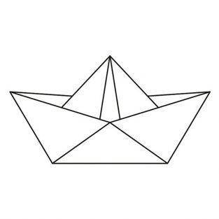 Tampon bois 6,6 x 3,7 cm - Bateau origami