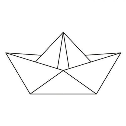 Sello de madera 6,6 x 3,7 cm - Barco de origami