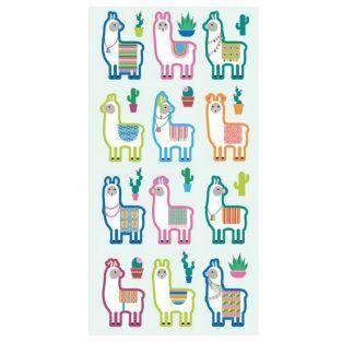 Etiquetas engomadas Puffies - Lamas y Cactus