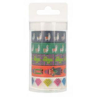 5 Washi tapes 5 m - Lamas y alpacas