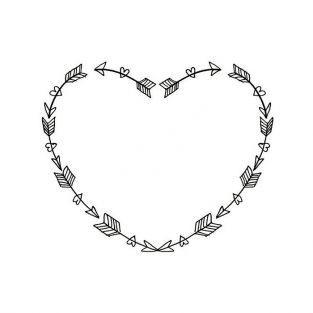Tampon bois cœurs et flèches 4,5 x 5,6 cm