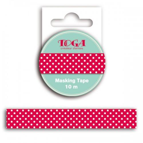 Masking tape 10 m - cinta adhesiva roja lunares blancos