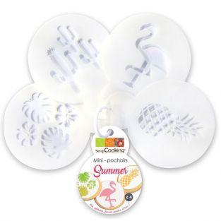 Set of 4 mini cake stencils Ø 6 cm - Summer