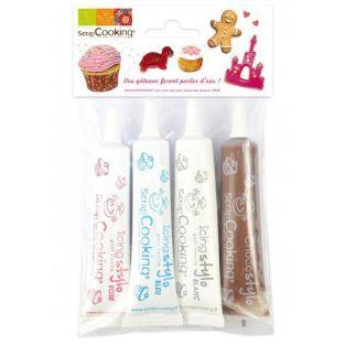 4 stylos de glaçage blanc, rose, bleu, chocolat