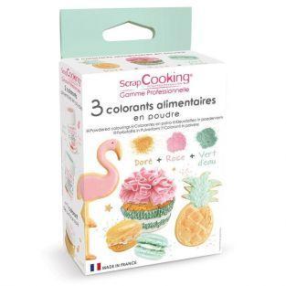 3 colorants alimentaires rose poudré, vert d'eau, doré 3 x 5 g