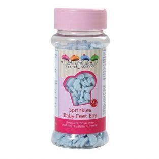 Décorations en sucre pour babyshower - Pieds de bébé bleu