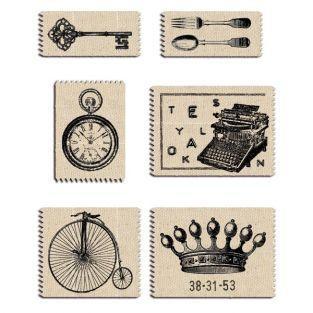 6 étiquettes tissu vintage