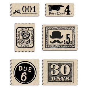 6 étiquettes tissu vintage...