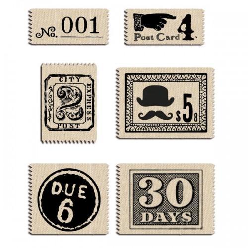 6 étiquettes tissu vintage post
