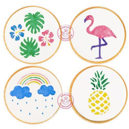 4 feutres alimentaires jaune, vert, rose, bleu