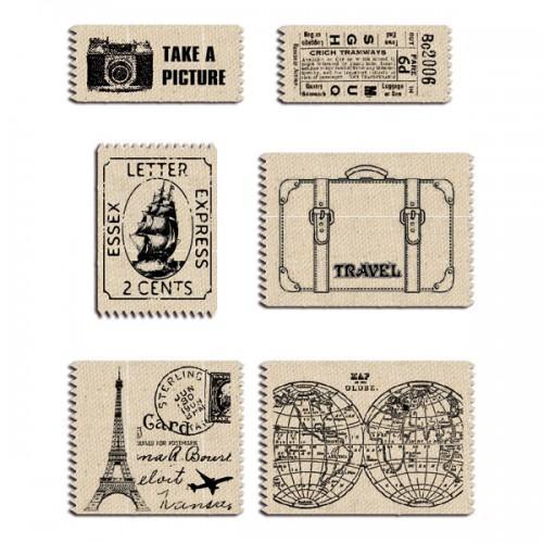 6 étiquettes tissu voyage