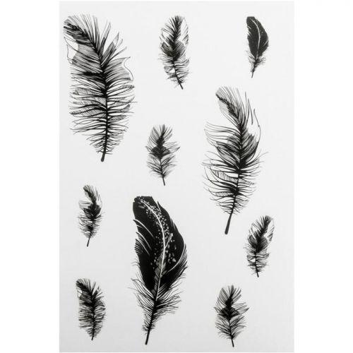 Motifs autocollants noir & blanc - Plumes