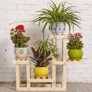 Holzregal mit 4 Böden für Blumen