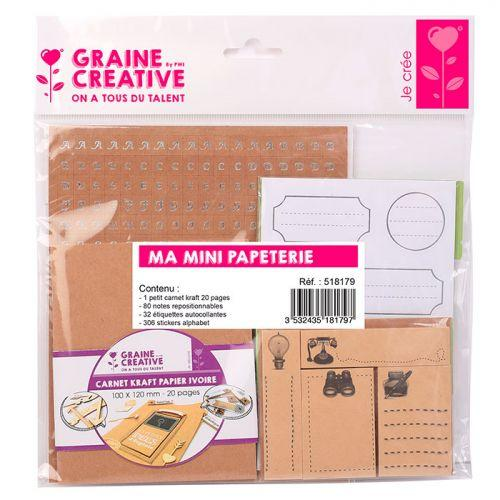 Kit papeterie avec mini carnet kraft 12 x 10 cm + 418 stickers
