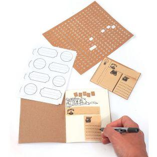 Stationery kit with mini kraft notebook 12 x 10 cm + 418 stickers